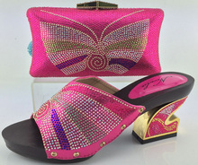 2016 Good looking Matching shoes and bags italy for party,Fashion African shoes and bag set in fuchsia size 38-42 HJY1-9