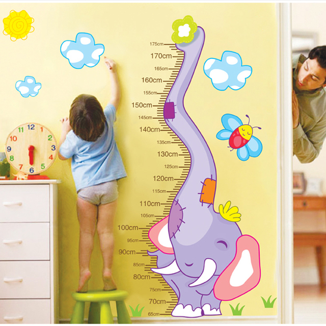 Cute Cartoon Elephant Height Measuring Wall Stickers Kid\'s Room ...