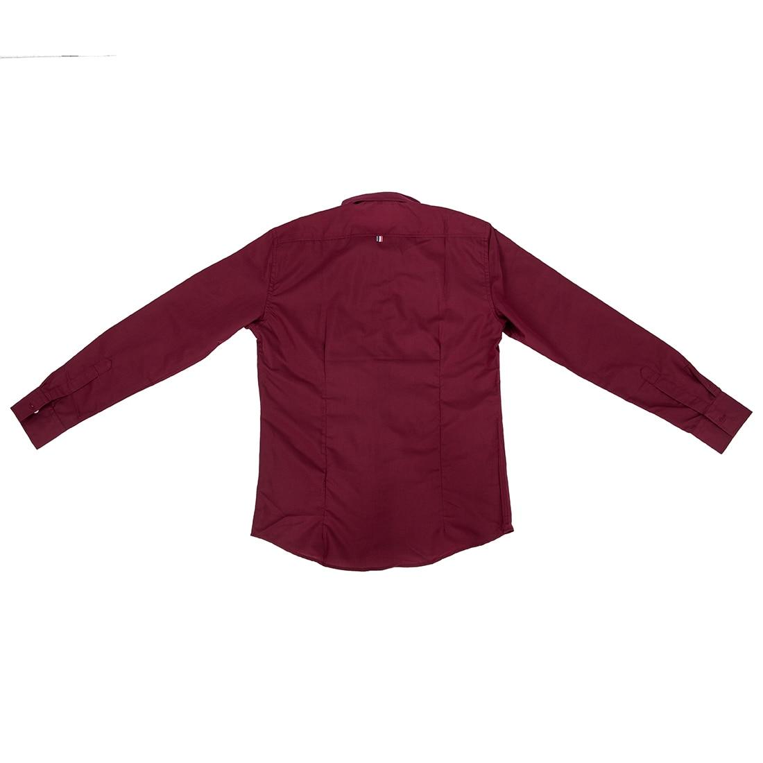 Красное Вино Осень Стильные Футболки для Мужчин Сплошной Цвет Ленты С Длинным Рукавом Slim Fit Рубашки Повседневные