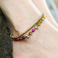 Fashion Bohemian Freshwater Pearl Beads Charm Ankle Chain Bracelets Anklets Women's Beaded Chain On Foot Female Ankle Jewelry