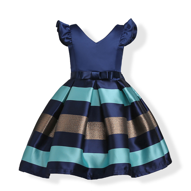 GUMPRUN 2018 Bow Striped Princess Girl Dress Summer Sleeveless Wedding Birthday Party Dresses For Girls Knee-length Kids Clothes
