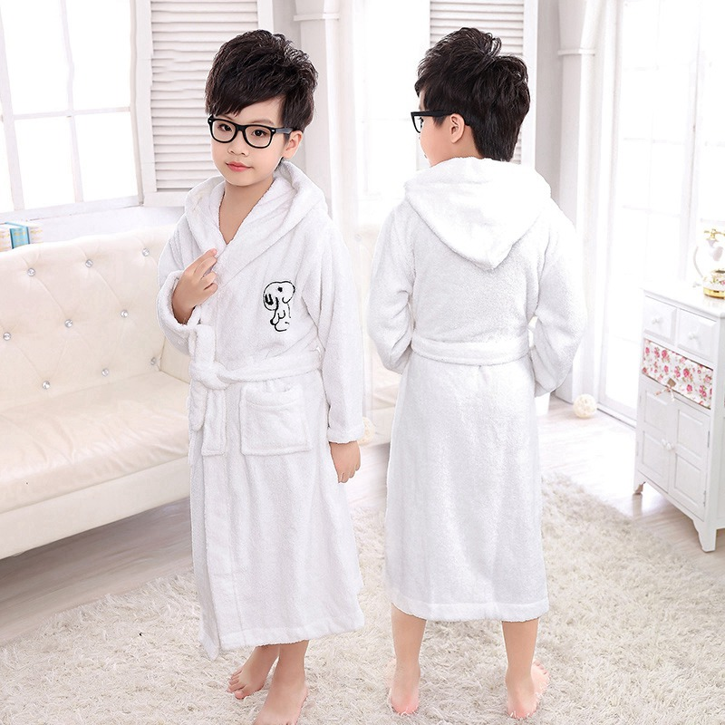 Kids Bathrobe Boys Cotton Bath Robe Hooded Thick Winter Nightwear Cartoon Pajamas Children Sleepwear Soft Towel  Warm Winter