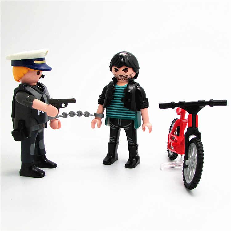 جديد بلايموبيل الشكل مجموعات الالعاب 7 سنتيمتر الشرطة اللص بندقية عمل نموذج لجسم بلايموبيل الأصلي دمى مزيج DIY لعب للأطفال
