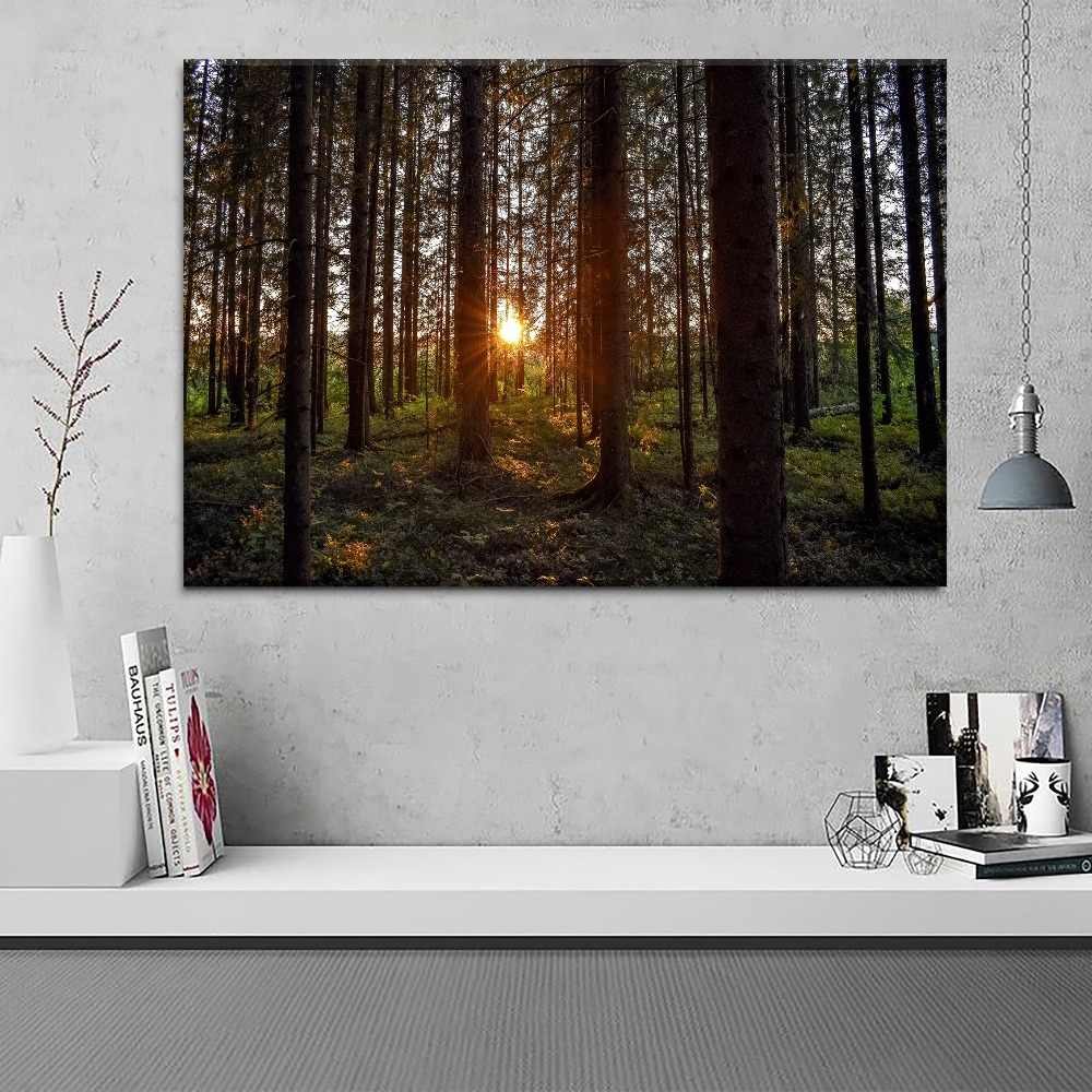1 Piece Style Poster Canvas Print Forest Sunlight Trees Rays Sunset Pictures Modern Home Decorative Living Room Wall Artwork
