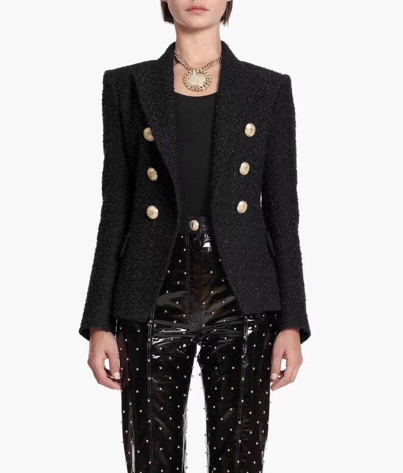 Or Blazers Nouveau Automne De Blazer Up Manches Tweed Piste Hiver Logo Femme Boutons Longues Breasted Noir Classique Luxe Double 2018 A0Aqf