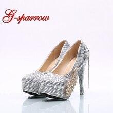 Plus Size Phoenix Rhinestone Wedding Shoes Handmade Nightclub Crystal High  Heel Dancing Shoes Bridal Prom Shoes e1e304559fab