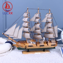 LUCKK 60 50 33 CM Handmade Retro Wooden Model Ships Home Interior Decoration Army Green Room Wood Craft Office Nautical Ornament