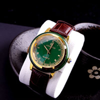Hot Sale Top Brand Quality Man Gems Watch Gift Couple Watches Antique Jade Watch Men Classic Real Leather Band Quartz Watch