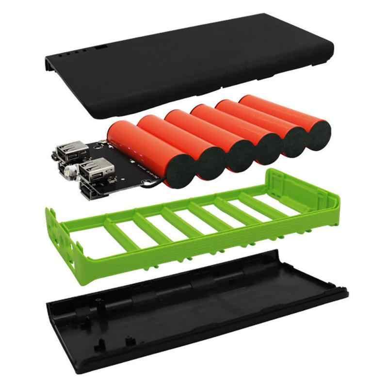 Batterie externe chargeur boîtier coque avec lampe de poche LED 4 Ports USB batterie externe coque bricolage Kits alimentés par 6X18650 Batteries #1107