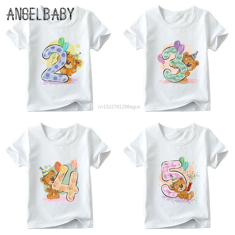 Girls Birthday Bear Number 1-9 Bow Print T Shirt Baby Summer T-shirt,Kids Cartoon Winnie Birthday Present Cute Clothes,ooo5237