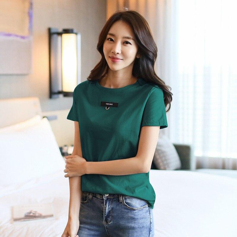 M22  2019 Casual Solid Ladies Black White Cotton Oversize T Shirt Women Tshirt Plus D114