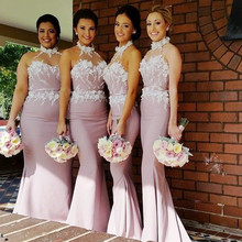 DK Bridal Charming Lace Halter Mermiad Bridesmaid Dresses Custom Made Sexy Long Party Dresses With Appliques For Weddings