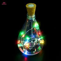 MUQGEW Christmas Bright Colorful Bottle Light Cork Shaped 10 LED Night Light Starry Lights Wine Bottle Lamp For Party Colorful