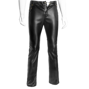 Image 4 - Mens Lingerie Wetlook Slim Fit Shiny Patent PVC Leather Latex Nightclub Party Tight Pants Leggings Trousers with Open Penis Hole