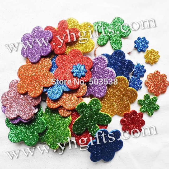 45pcs 1bag lot glitter foam flower stickers spring crafts for Fomic sheet decoration youtube