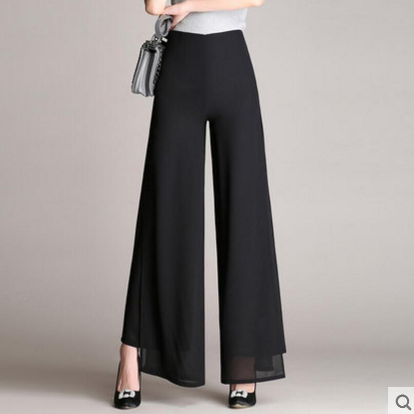 2019 Summer Fashion Women High Waist Chiffon   Pants   Plus Szie   Wide     Leg     Pants   Casual Trousers   Pants   Women LY112