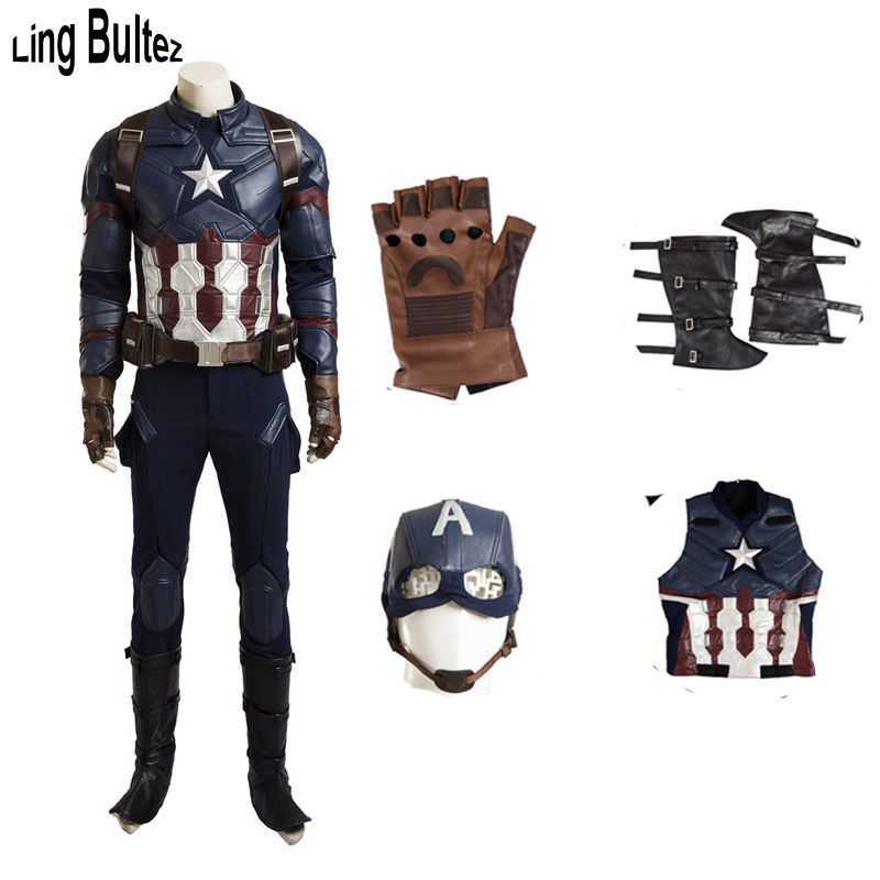 Ling Bultez High Quality Newest Captain America Costume Set Movie Captain America 3 Civil War Captain Costume