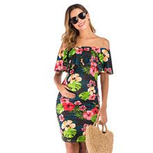 pencil dress summer short sleeve pack hip dresses New women fashion dress one word collar Lotus leaf printing pencil dressMM613