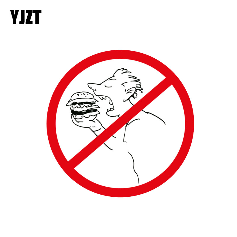 YJZT 12.5CM*12.5CM Funny Ban Stop Sign No Food Car Sticker PVC Warning Decal 12-1432