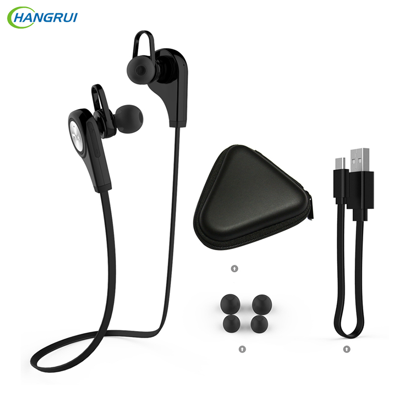 HANGRUI Sports Bluetooth Headsets CSR4.1 Q9 Wireless Headphones In-ear Stereo Earphone with Microphone for iPhone7 plus Android remax 2 in1 mini bluetooth 4 0 headphones usb car charger dock wireless car headset bluetooth earphone for iphone 7 6s android