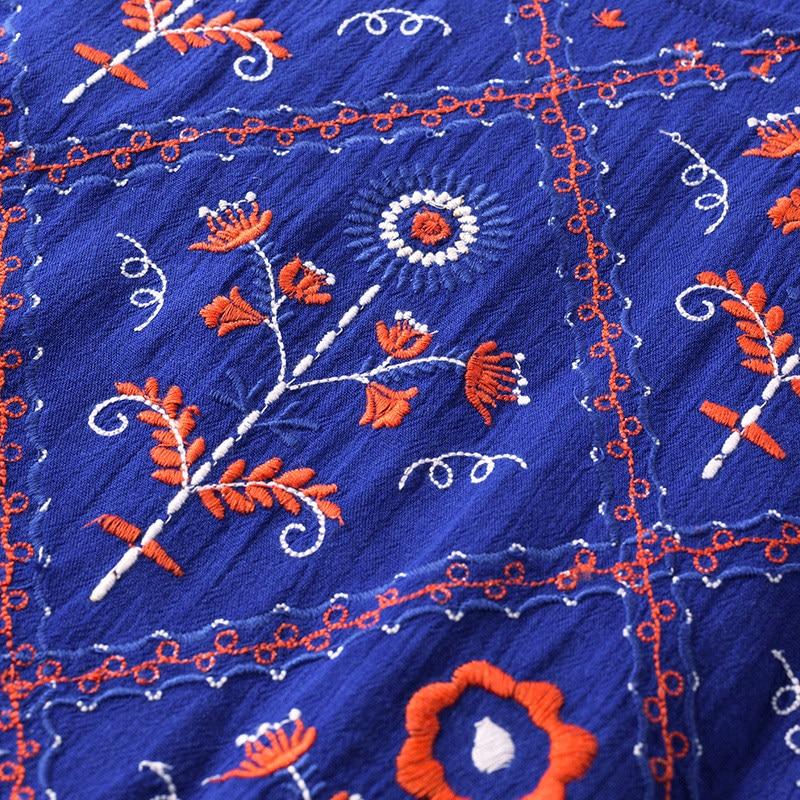 Image 5 - INMAN  Summer Dresses Round Neck Retro Ethnic Embroidery Lady Dresses A Line Cotton Loose High Waist Women DressDresses   -