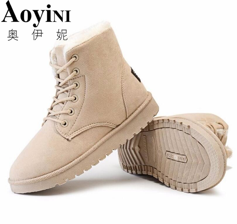 Women Boots Snow 2017 Hot Sale Warm Winter Boots Botas Lace Up Mujer Fur Ankle Boots Ladies Winter Shoes Black 2016 rhinestone sheepskin women snow boots with fur flat platform ankle winter boots ladies australia boots bottine femme botas