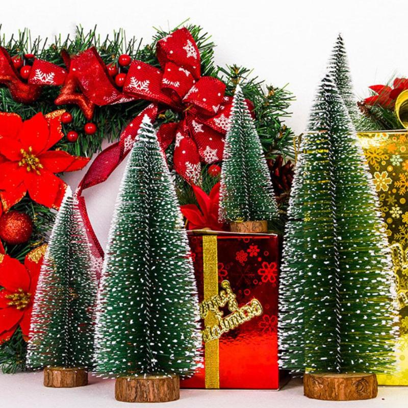 1PC Small DIY Christmas Tree Fake Pine Tree Mini Sisal Bottle Brush Christmas Tree Santa Snow Frost Village House Five Size image