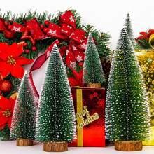 1pcs small diy christmas tree fake pine tree mini sisal bottle brush christmas tree santa snow frost village house five size - Mini Christmas Village Houses