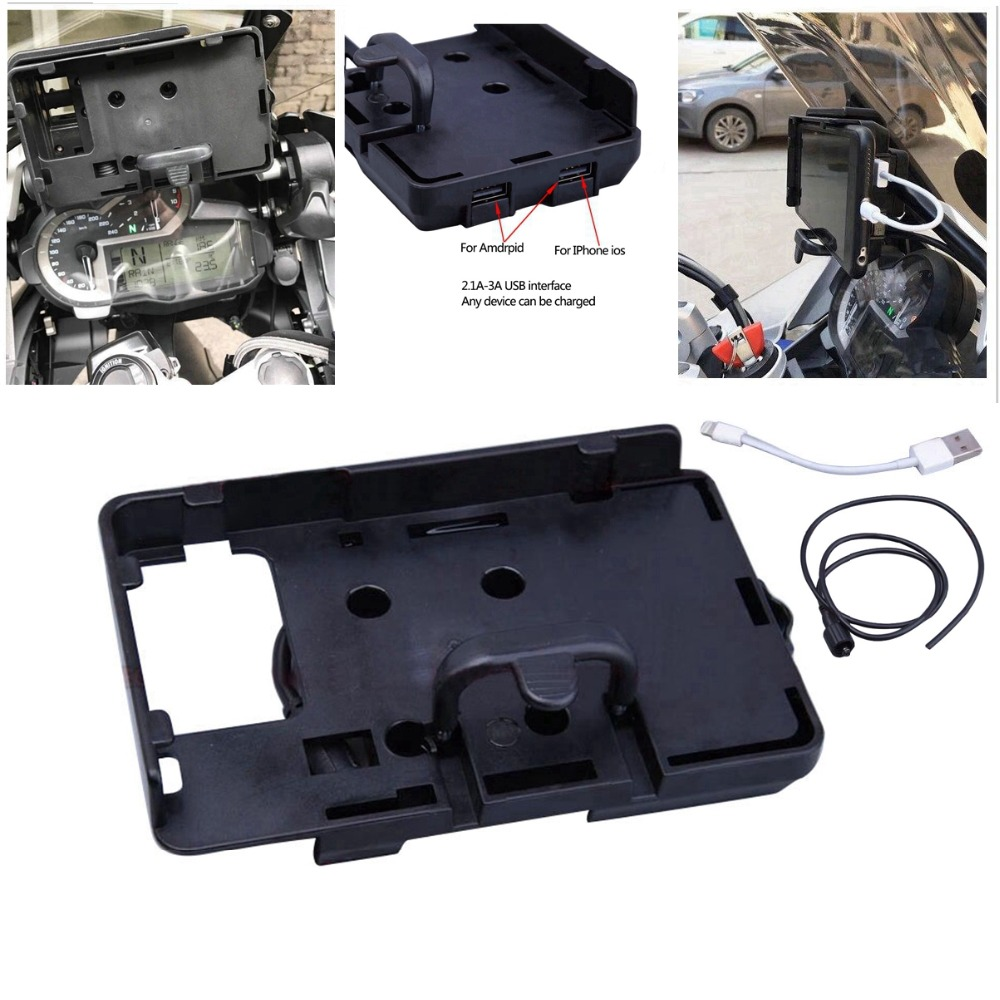 For BMW Motorcycle R1200GS F700 800GS Mobile Phone Navigation Bracket USB Charging For Honda 12MM Mobile