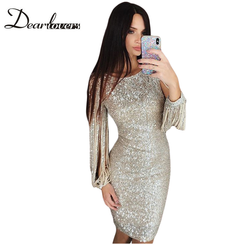 Dear lover Silver Sequin Dress Autumn Winter O Neck Long Sleeve Women Party Dresses Sexy Ladies Night Club Dress 2018 LC610986