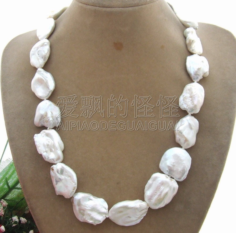 N042606 collier de perles Keshi naturel 20mm