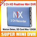 2 channel Mini DVR With Motion Detection Taxi Car/Home Security Camera Recorder MPEG-4 Video Compression Support 128gb SD Card