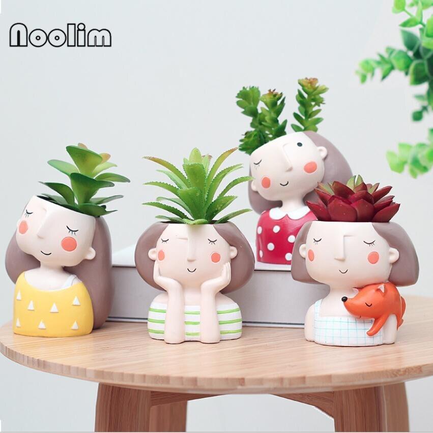 NooLim 4Pcs/Set Flower Girl Flower Planter European Style Resin Succulent Plants Planter Pot Mini Bonsai Cactus Flower Pot
