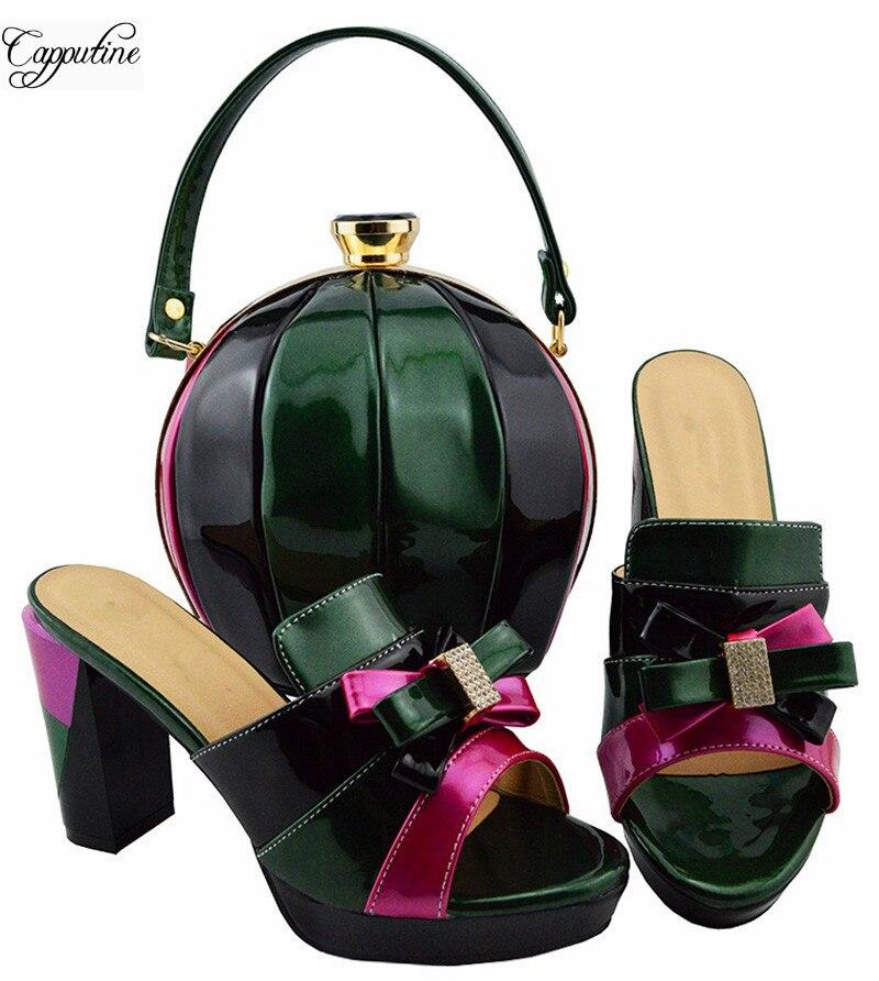 Приятный цвет смешанный высокий каблук сандалии обувь и сумки набор для вечерние MD003 Высота каблука 9 см