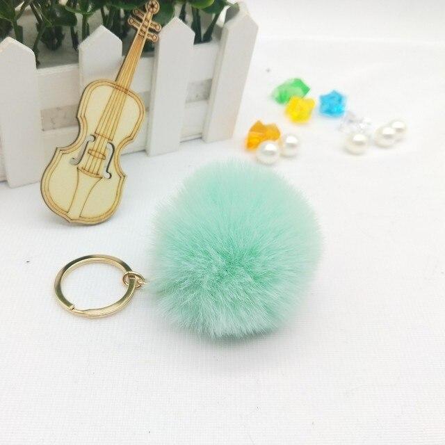 Sleutelhanger 6 cm Artesanal Fofo Pom Pom Keychain Para O Saco Mulheres Faux Pele De Coelho Pompom Chaveiro Chaveiro Chaveiros Llavero
