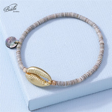 Badu Golden Shell Pendant Bracelet for Women Summer Polymer Clay Beaded Bracelets Fashion Accessories Wholesale Jewelry