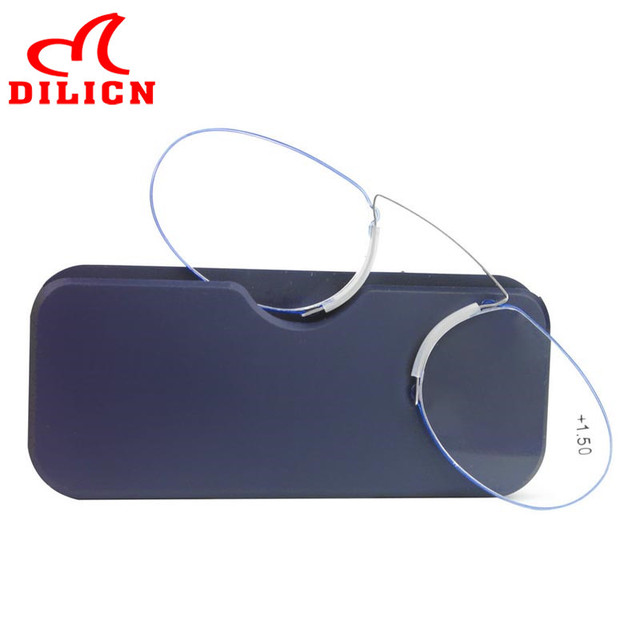 560b2fe5651 Nose Clip On Reading Glasses Mini Foldable Pince Nez Presbyopic Glasses  Metal Frame Magnifier SOS Wallet Reader with Case 1.5