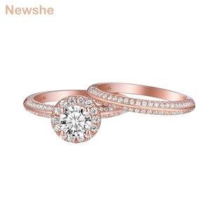 Image 3 - Newshe 2 uds anillos de boda de oro rosa para mujeres 925 Plata de Ley corte redondo AAA CZ conjunto de anillos de compromiso