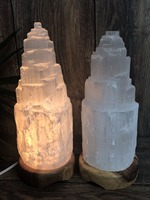 20cm Natural Selenite Lamp Selenite Tower Lamp Crystal Lamp Gemstone Mountain Lamp Healing Mineral Stone