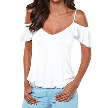 92a855919c1 2018 Women Summer T Shirt Off The Shoulder Plus Size Top Low Cut Sexy Tops  Flowy