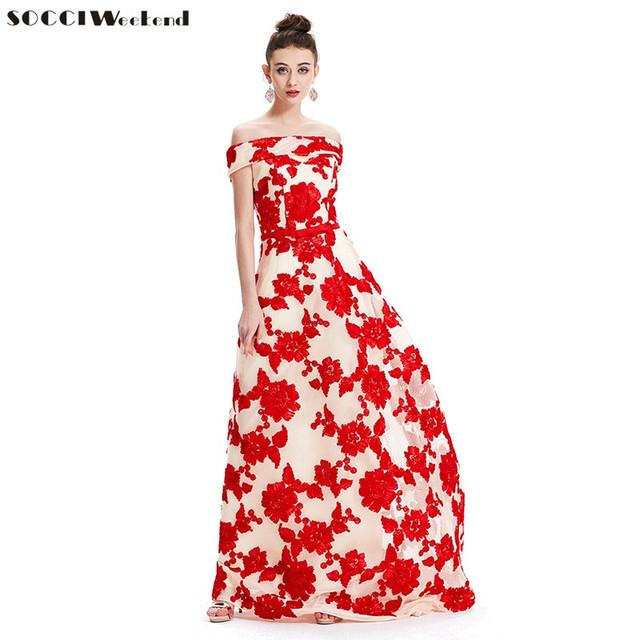 Women Boat Neck Long Formal Evening Dress Embroidery Flowers Belt Built-in Bar Prom Gown Evening Dresses  Robe De Soiree