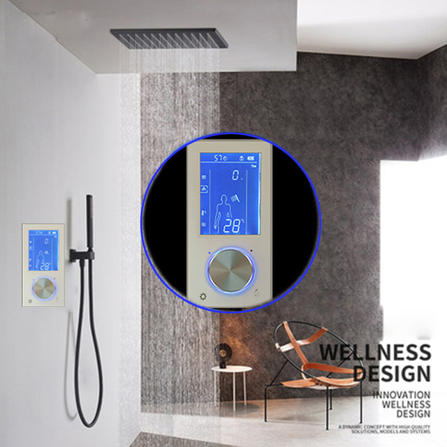 Jmkws Lcd Digital Shower Faucet 2 Jets Smart Display Thermostat Mixer Touch Screen Control Temperature
