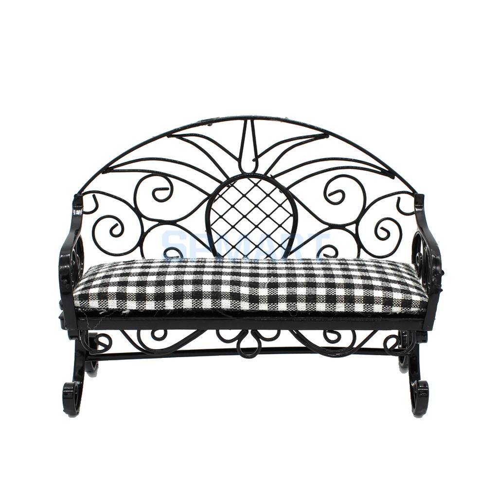 Astounding Us 8 44 29 Off 1 12 Dollhouse Miniature Furniture Living Room Garden Vintage Metal Double Chairs Double Seat Sofa Couch Bench Pretend Play Toys In Bralicious Painted Fabric Chair Ideas Braliciousco