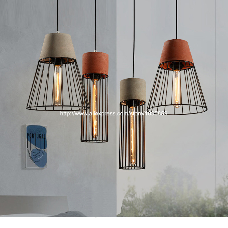 Vintage Metal Cage Cement Pendant Lights Lamps Grey/Red Dining Room Ceiling Fixtures Lighting free shipping vintage industrial clear glass metal cage pendant lights lamps dining room ceiling fixtures lighting