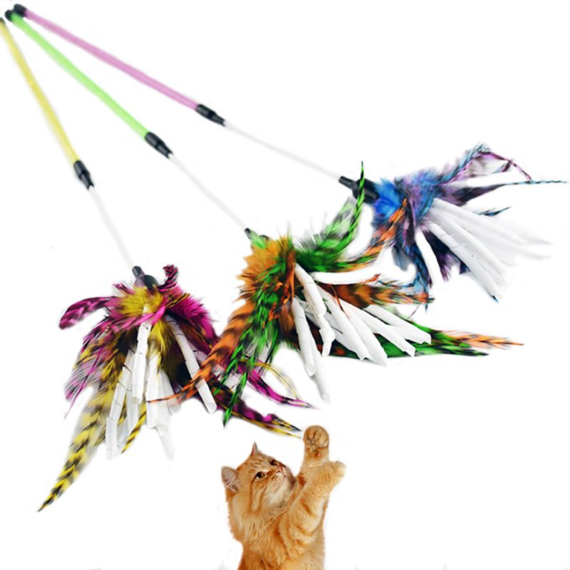 Colorful Cat Toy Feather Rod Teaser Wand Kitten Pet Teaser Feather Interactive Fun Toy Wire Chaser Wand For Cat
