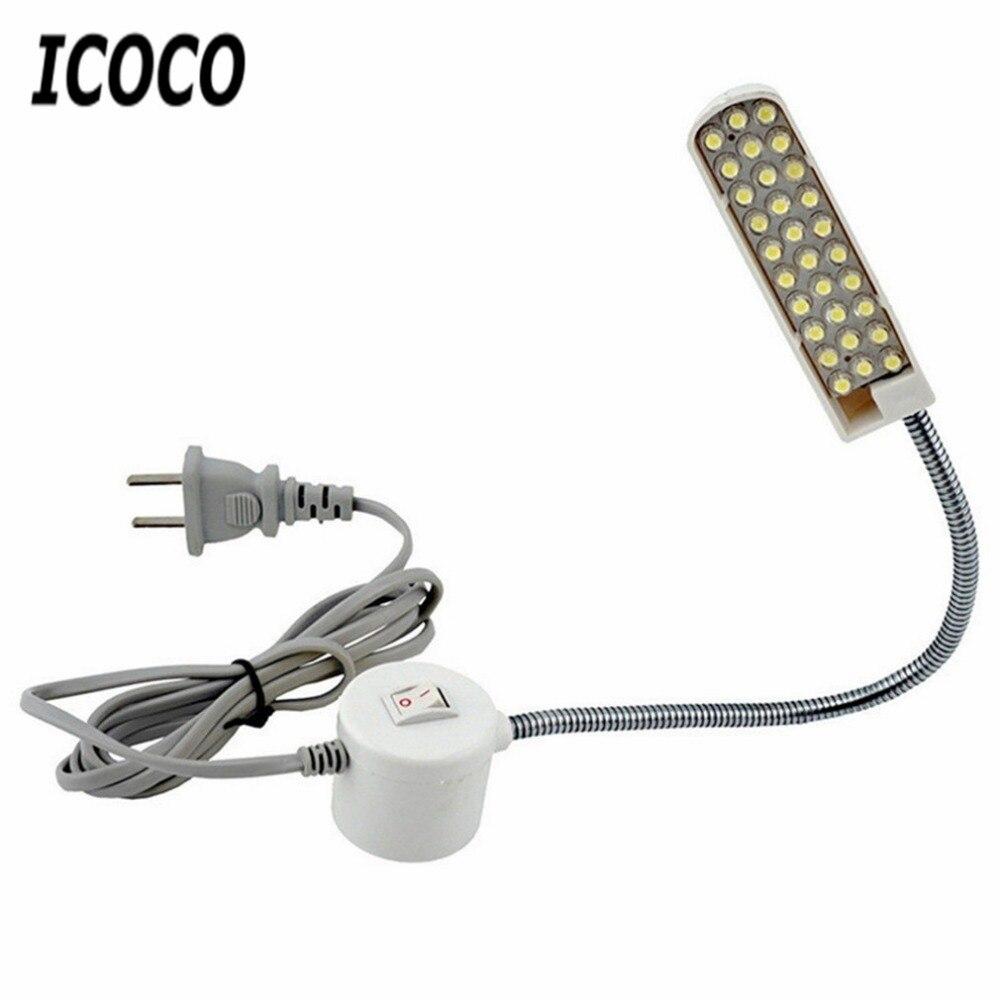 ICOCO 220-250V 30 LEDs DİKİŞ MAKİNESİ ışık Gooseneck lambası manyetik taban ev çalışma ışığı lambası DİKİŞ MAKİNESİ aksesuarları