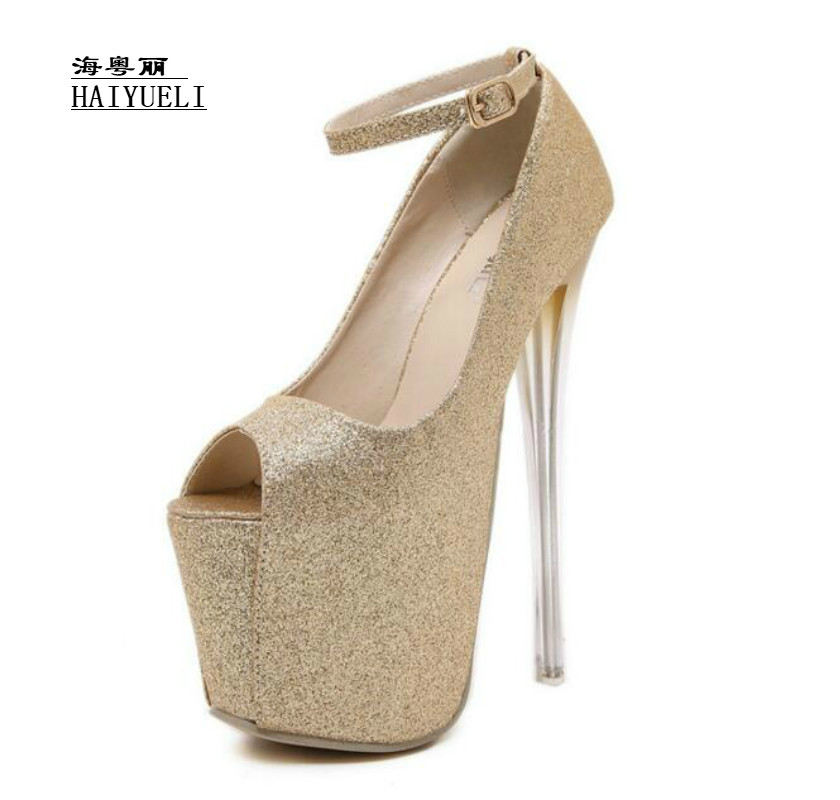 Fashion sex 19CM Fish head high heels women's shoes Women Pumps nightclub party shoes europe and super high heels 14cm fashion shoes waterproof fish head sexy nightclub fine with plaid shoes