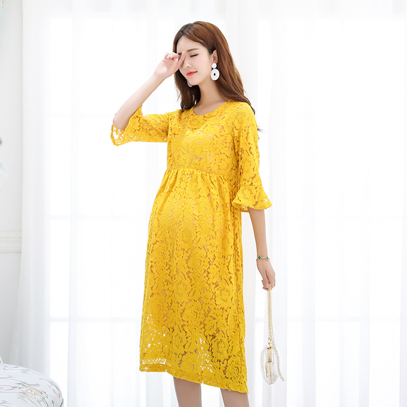 Envsoll 2018 Autumn Maternity Dresses For Pregnant Women Lace Dress Pink Yellow Mid Sleeve Pregnancy Clothes In From Mother