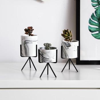 Minimalism Style Marble Pattern Gold Ceramic Iron Art Table Vase Flower Pot For Home Decoration Pendant