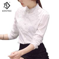 2018 Spring Summer Office Lady Blouse Solid Women Chiffon Shirt With Lace Hollow Up Stand Collar